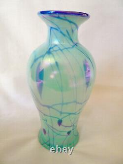 DAVE FETTY Fenton Willow Green Iridescent Glass COBALT HANGING HEART VASE