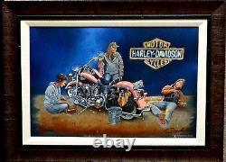 Dave Barnhouse A inside Joke Harley Girls Motorcycle Canvas Print S/N Framed