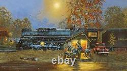 Dave Barnhouse Passing Time Artist Proof # 156/195 Paper WithCERT Trains