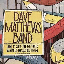 Dave Matthews Band Boston Mansfield MA 2013 silkscreen gig poster landland S/N