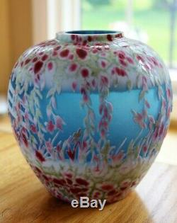 Fenton 2009 Rare Kelsey Murphy Dave Fetty Cameo Sand Carved Giverny Ginger Jar