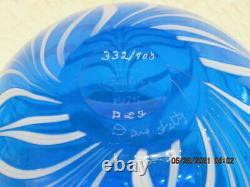 Fenton Art Glass 1975 Dave Fetty Blue Casscade Vase Le# 332/700-dave Fetty