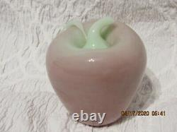 Fenton Art Glass Dave Fetty 2000 Light Pink/green Apple Paperweight Signed