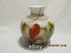 Fenton Art Glass Dave Fetty 2007 Feathers 7 Vase Limited To 850 Pieces