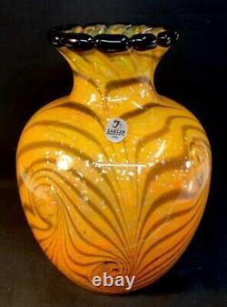 Fenton Art Glass Dave Fetty Cut Flowers Hand Blown Vase LIMITED EDITION