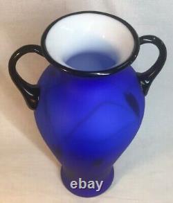 Fenton Art Glass Dave Fetty Hanging Hearts On Cobalt Satin Vase LIMITED EDITION