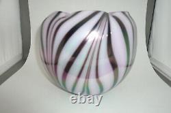 Fenton Art Glass Lavender Haze Dave Fetty Feather Vase