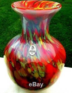 Fenton Art Glass Myriad Mist By Dave Fetty Vase #324/750 New Box. 8.75H