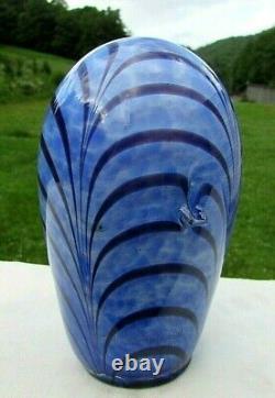Fenton Dave Fetty Blue & Black Pulled Feather Elephant Figurine 5H x 3W