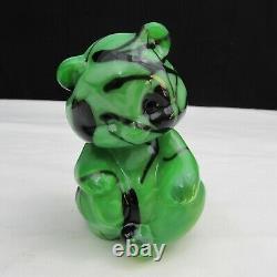 Fenton Dave Fetty Chameleon Green Black Hanging Hearts Sitting Bear C2158