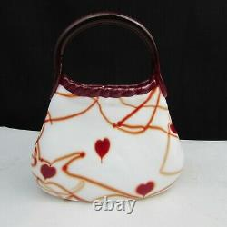 Fenton Dave Fetty White with Red Hanging Hearts and Vines Purse W53