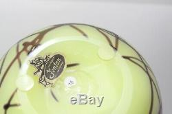 Fenton Robert Barber Dave Fetty Art Glass Hanging Hearts Custard Iridescent Vase
