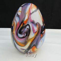 Fenton Robert Barber Dave Fetty Purple Orange Egg Paperweight 1976 C2598