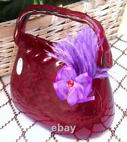 Fenton Ruby PURSE Figure Circa 2005 Personally made by DAVE FETTY & SIGNED