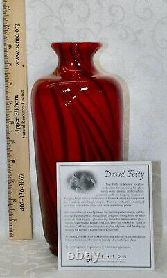 Fenton, Vase, Ruby Glass With Black Threads, Dave Fetty, Limited Edition