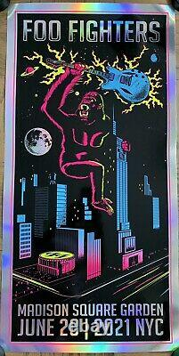 Foo Fighters Foil Poster Msg Nyc 2021 Kong Limited Variant Dave Grohl