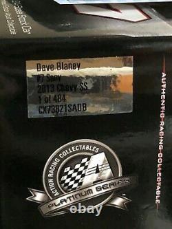 2013 Dave Blaney 1/24 Autographié #7 Sany Chevrolet Ss 1 De 484 Avec Coa