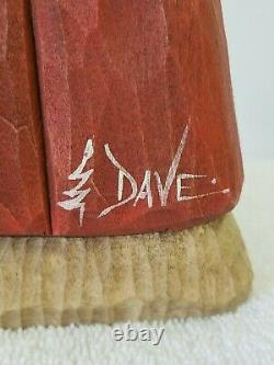 Dave Francis Wood Moose Quilt Père Noël Carving Signé À La Main Fait Noël