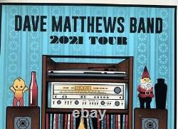 Dave Matthews Band Tour Poster 2021 Concert Dmb Edition Limitée Blue Variant