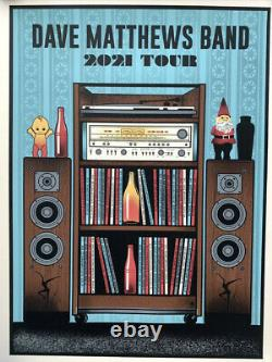 Dave Matthews Band Visite Dmb Poster 2021 Concert Édition Limitée Blue Variant