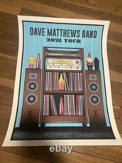 Dave Matthews Visite Du Band Poster 2021 Concert Dmb Édition Limitée Variante Bleue