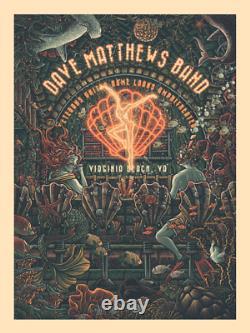 Dmb Dave Matthews Band Virginia Beach Va Luke Martin Foil Affiche Signée