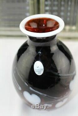 Fenton Art De Verre Dave Fetty Vase Exemple Vase Signe Coeurs Hanging Blanc