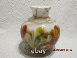 Fenton Art Glass Dave Fetty 2007 Plumes 7 Vase Limitée À 850 Pièces