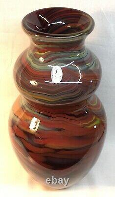 Fenton Art Glass Dave Fetty Crayons Vase Blown À La Main Vase Limitée À 750