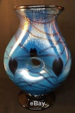Fenton Art Glass Dave Fetty Vase Soufflé À La Bouche Double Coeurs Suspendus Limité À 250