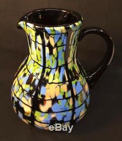Fenton Art Glass Signée À La Main Dave Fetty Noir Pitcher Mosaic Limited 07 Daté