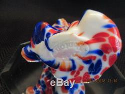 Fenton Art Glass Soufflé À La Bouche Dave Fetty Red, White & Blue Cat Dave Signé Par