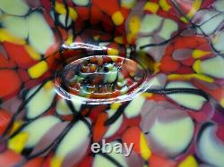 Fenton Dave Fetty 9 Mosaic Vase Orange Yellow Iridescence