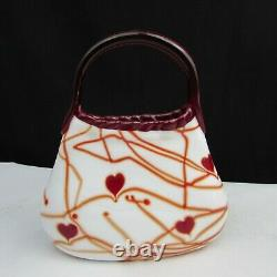 Fenton Dave Fetty Blanc Avec Red Hanging Hearts And Vines Purse W53