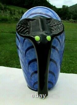 Fenton Dave Fetty Bleu & Noir Pulled Feather Elephant Figurine 5h X 3w