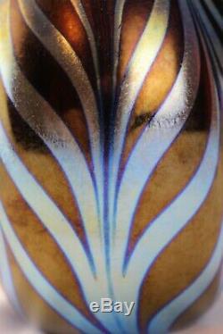 Fenton Favrene Plumes Traîné Plume Dave Fetty 2002 Signed Échantillon Vase Ooak