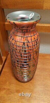 Fenton Glass Art Dave Fetty Limited Edition Orange Circumthread Vase #8973 54