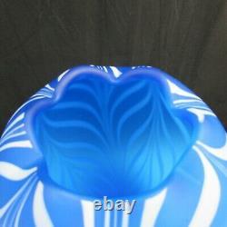 Fenton Robert Barber Dave Fetty Bleu Cobalt Plumes Traîné Vase A6 1975