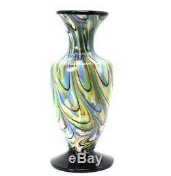 Fenton Verre Bleu Et Crème Vase Amphora Dave Fetty Signed
