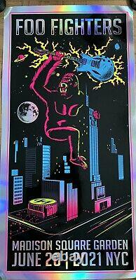 Foo Fighters Foil Poster Msg Nyc 2021 Kong Limited Variante Dave Grohl