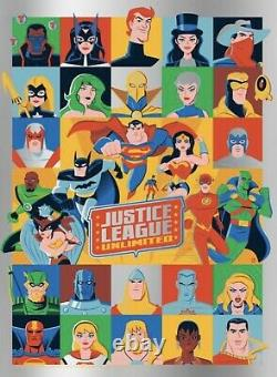 Justice League Unlimited Foil Variante Screen Print Poster Dave Perillo Limited