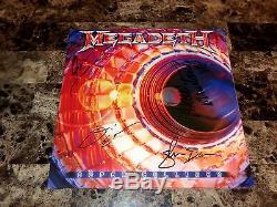 Megadeth Band Rare Signé Vinyl Record Supercollider Dave Mustaine Ellefson Coa
