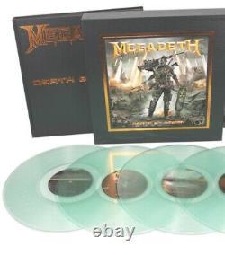 Megadeth Death By Design 4-lp Boîte En Vinyle Transparent Dave Mustaine Signé