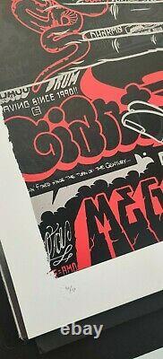 Mike Giant Vs Dave Kinsey Mega Signé #d/150 Screen Print Art Poster 2009 Rare