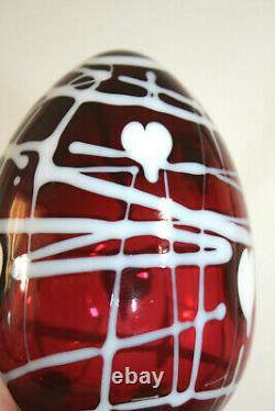 Vintage Fenton Dave Fetty Red Hanging Hearts Grand Oeuf En Verre Estampillé 5''-inch
